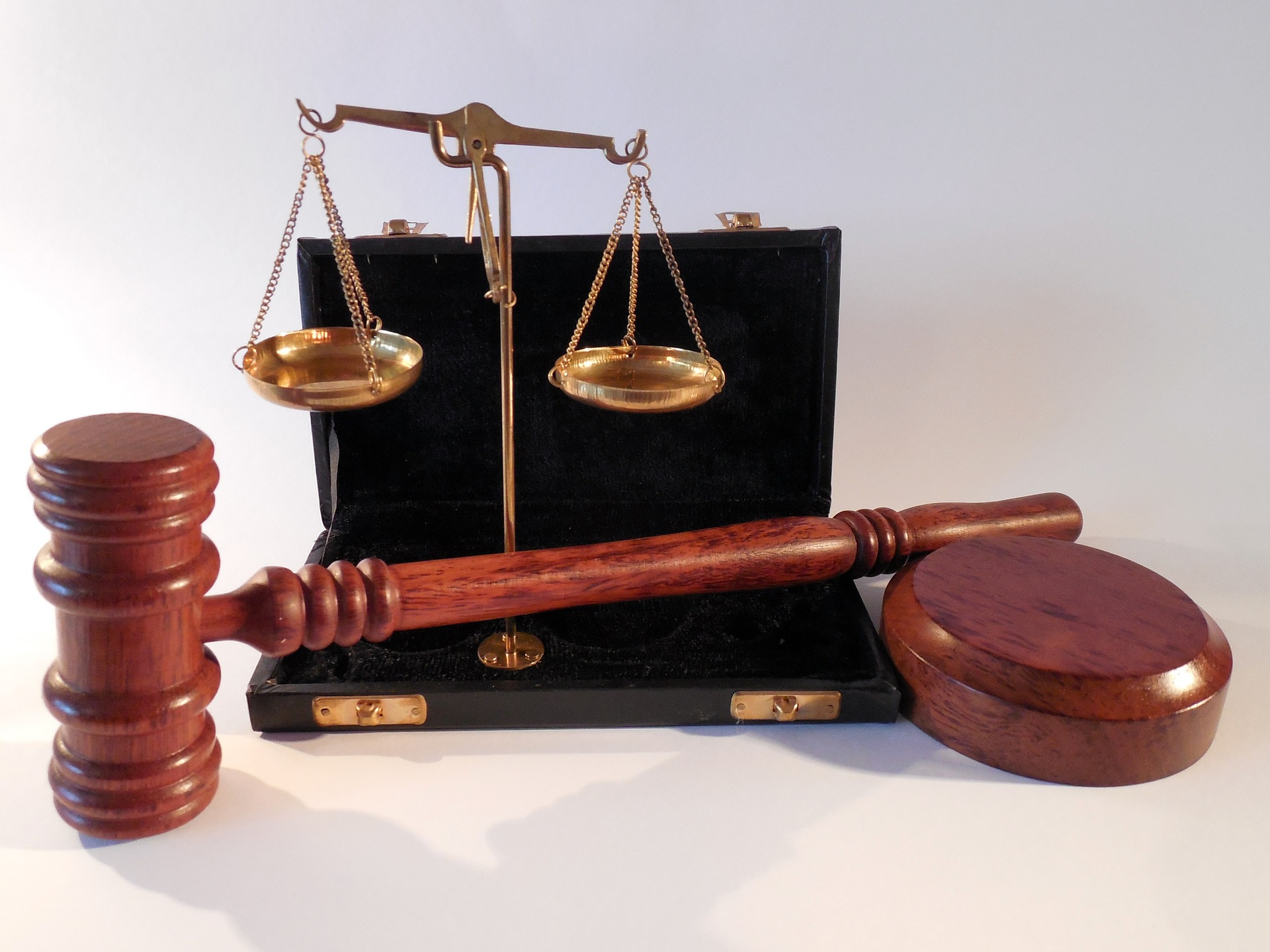 scales, gavel, and book
