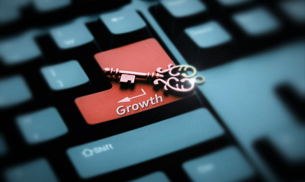 """growth"" on keyboard with key image"