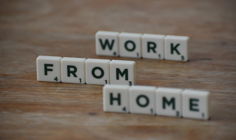 "scrabble letters spelling out ""work from home"""