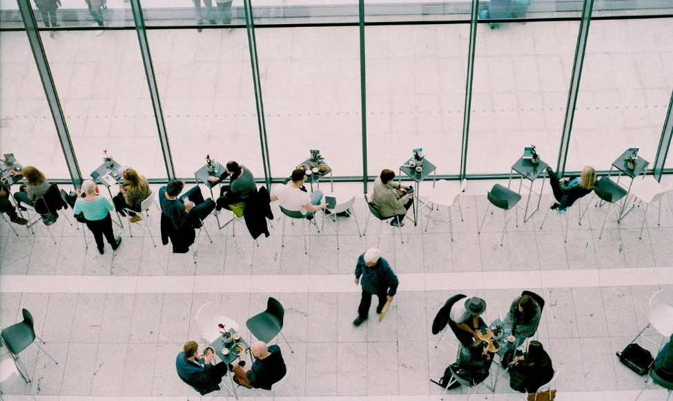 aerial view of business people